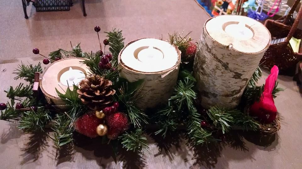 White Birch Candle Holder Center Piece