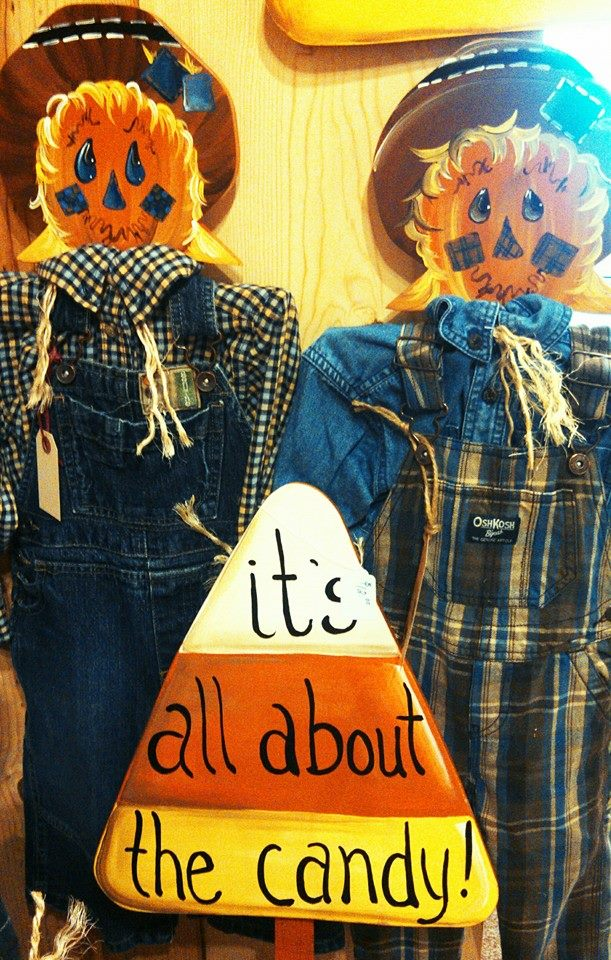 Hanging Scarecrows and Candy Corn