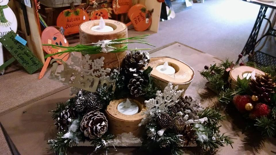 White Birch Candle Center Piece
